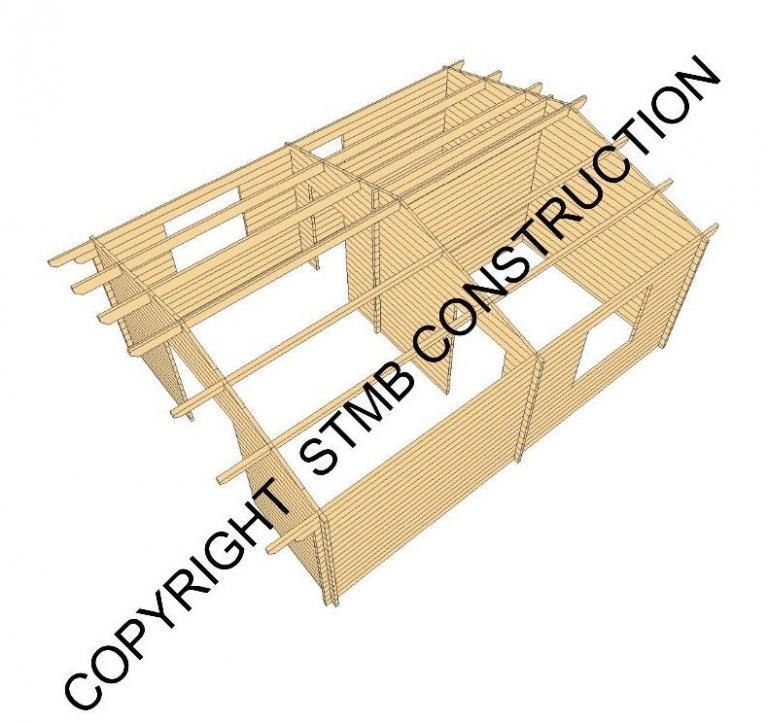 Chalet en bois en kit avec terrasse couverte mod le frene 30 m2 for Construction chalet bois 05