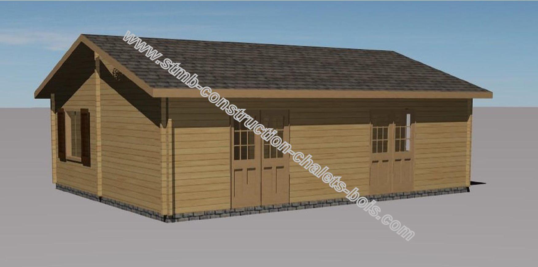 Chalet en bois habitable toulon de 49 m2 en madriers massifs for Cabanon en bois habitable