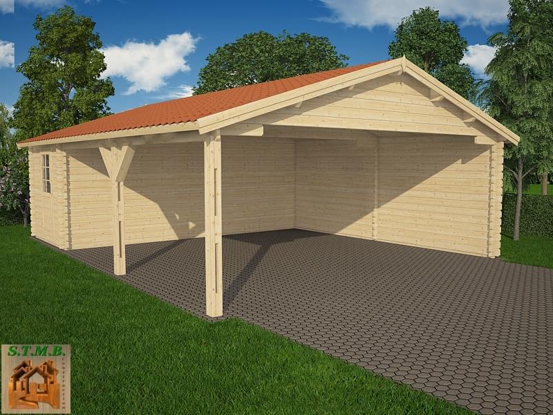 kit abri voiture en bois avec atelier attenant surface au. Black Bedroom Furniture Sets. Home Design Ideas