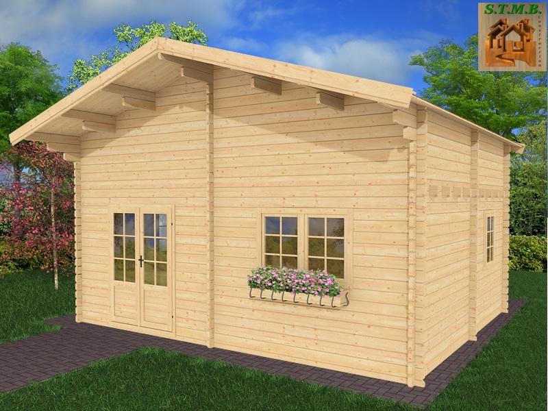 Chalet en bois en kit de 30 m avec mezzanine mod le peuplier for Construction chalet bois 50m2