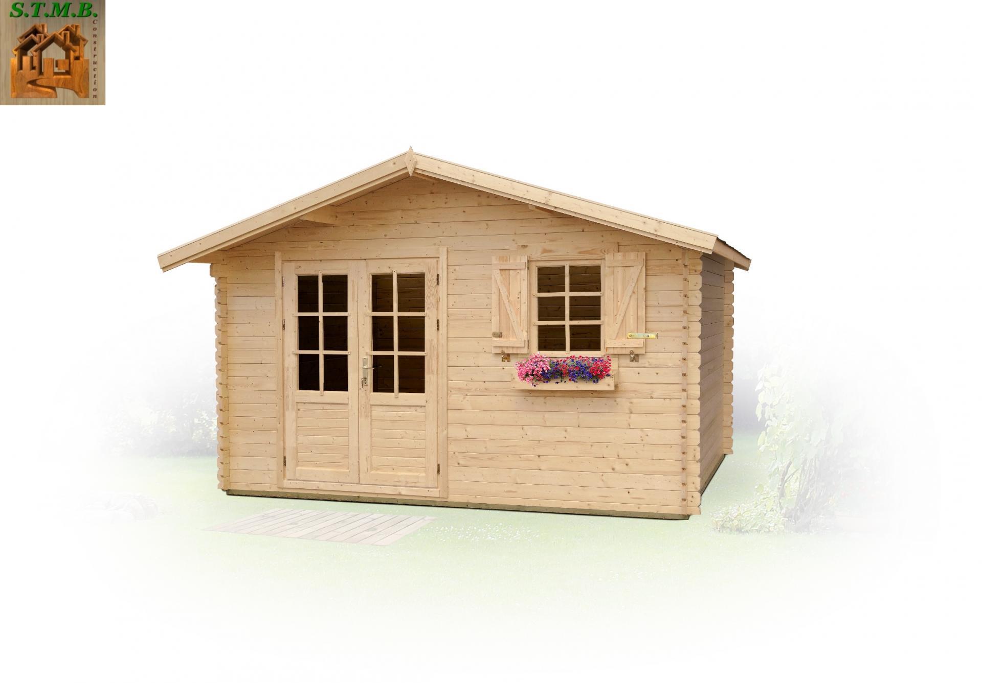 chalet de jardin bois mod le pommier 16 m en madriers de 34 mm. Black Bedroom Furniture Sets. Home Design Ideas
