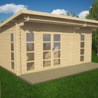Bureau ou chalet de jardin caen 12 en madriers de 68 mm for Construction chalet bois 05