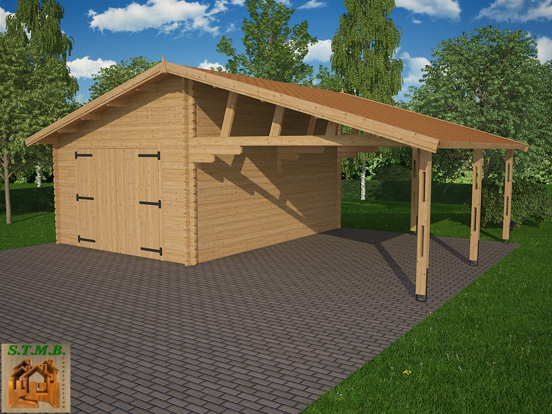 Ph1 kit garage bois carport granvillier 44m 44mm stmb construction