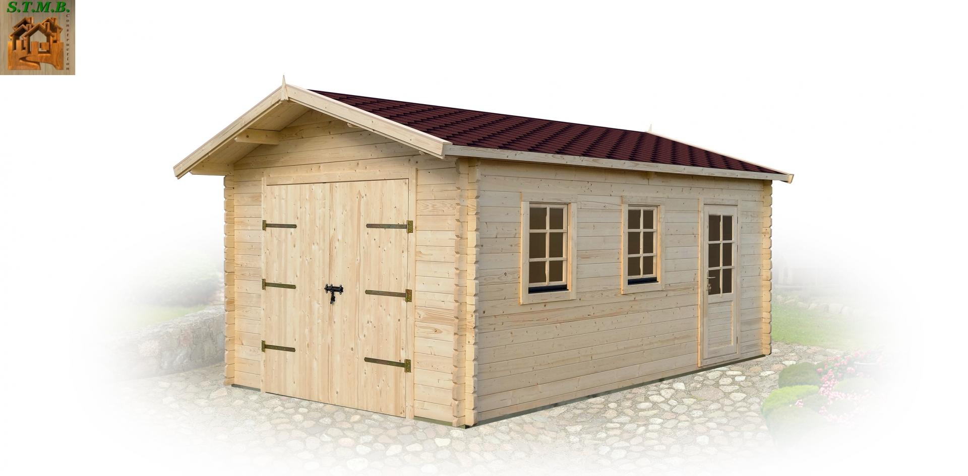 Garage en bois pas cher stmb construction chalets for Garage en bois en solde