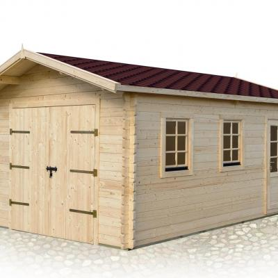 Garage bois toit plat stmb construction chalets for Construction bois 22