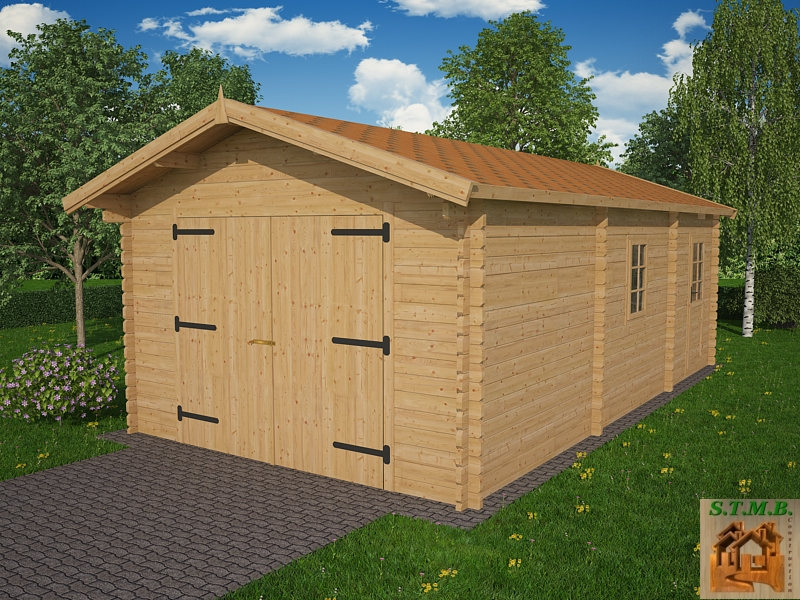 Ph1 kit garage bois rangement platane 30m 44mm stmb construction