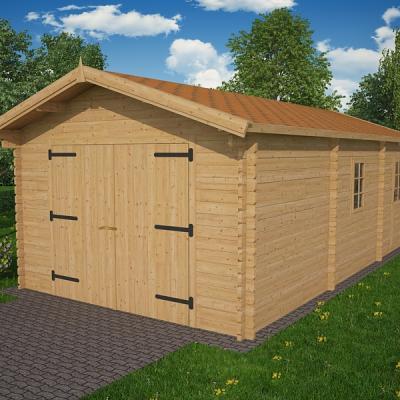 Garage en bois en kit garage en bois toit plat for Garage bois kit