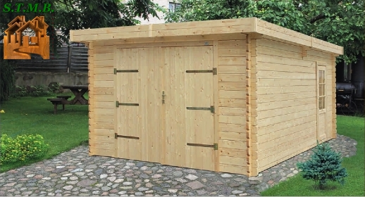 Kit garage bois 22 m au sol en madriers embo t s de 44 mm for Abri bois 20m2