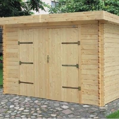 Garage en bois en kit garage en bois toit plat for Structure en bois pour garage