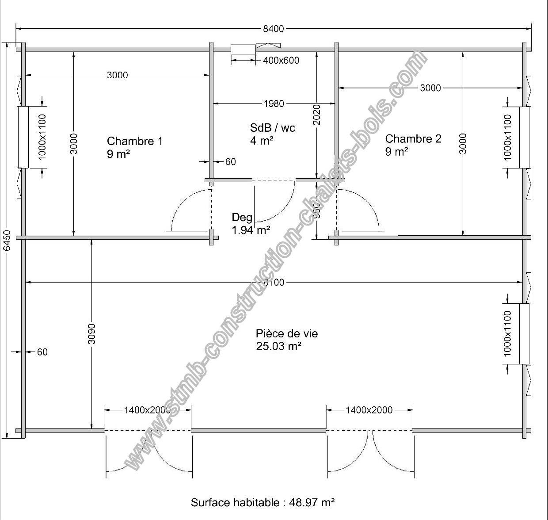 Chalet en bois habitable toulon de 49 m2 en madriers massifs - Plan roulotte gitane gratuit ...