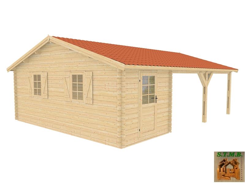 Kit abri voiture en bois avec atelier attenant surface au for Prix garage bois