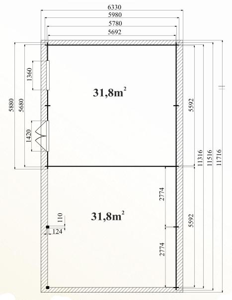 Ph6 kit abri bois voitures atelier cerisier 69m 44mm stmb construction