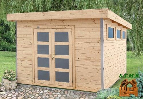 Abri de jardin toit plat avec profil d 39 angle en aluminium - Abri de jardin habitable toit plat ...