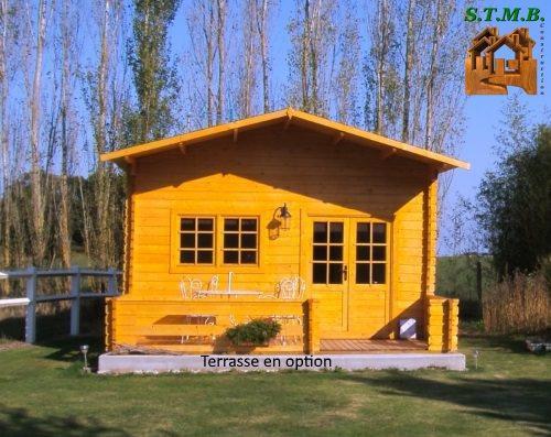 Chalet en bois en kit de 30 m avec mezzanine mod le peuplier for Construction chalet bois sans permis construire