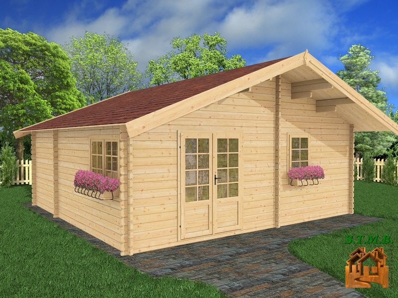 chalet habitable de loisirs en kit mod le chataignier 36 m. Black Bedroom Furniture Sets. Home Design Ideas