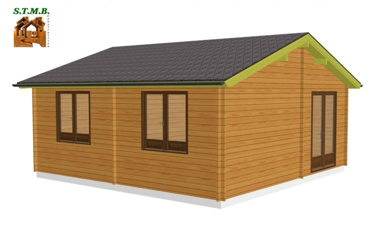 chalet 33 m2 en bois habitable de loisirs en kit avec terrasse. Black Bedroom Furniture Sets. Home Design Ideas