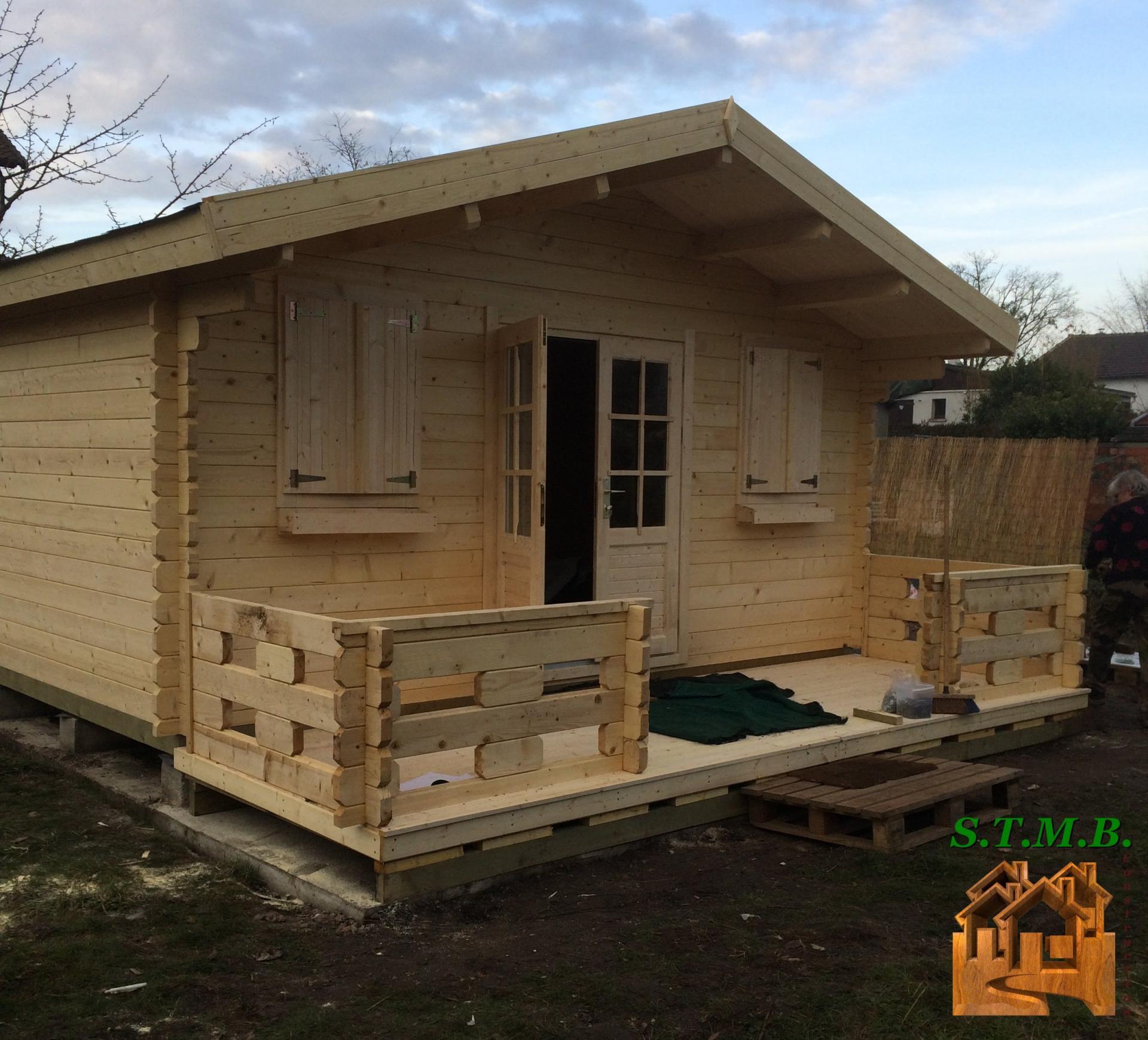 chalet de jardin en kit murier 20 m en madriers de 44 mm. Black Bedroom Furniture Sets. Home Design Ideas