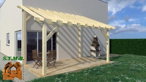 pergolas ou carport en bois de 6 x 4 m en kit stmb. Black Bedroom Furniture Sets. Home Design Ideas