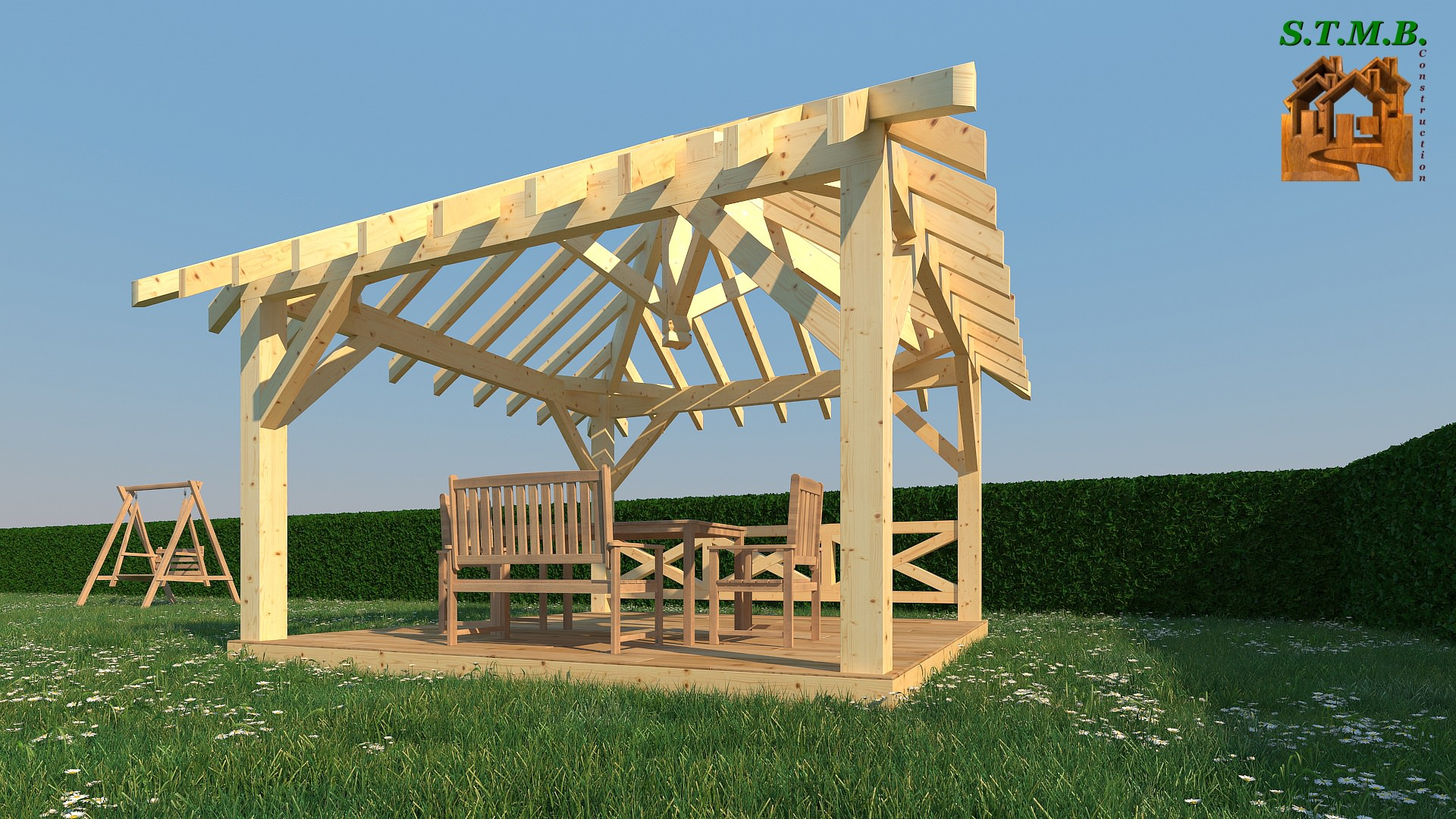faire une pergola construire une pergola bois dedans. Black Bedroom Furniture Sets. Home Design Ideas