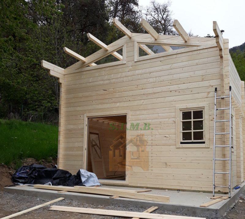 chalet bois 20 m2 avec mezzanine compl te laurier 20 msb. Black Bedroom Furniture Sets. Home Design Ideas