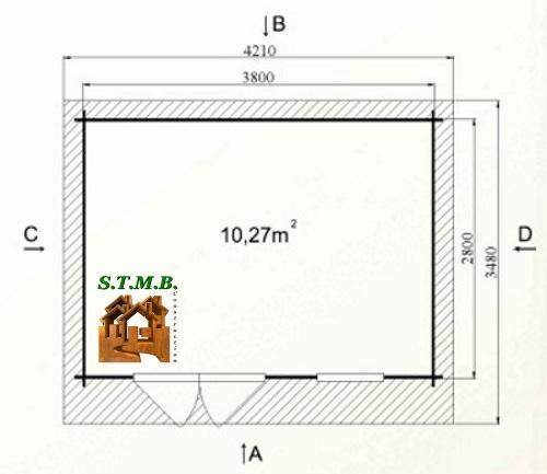 Photo plan abri jardin bois bouleau 12 stmb 1