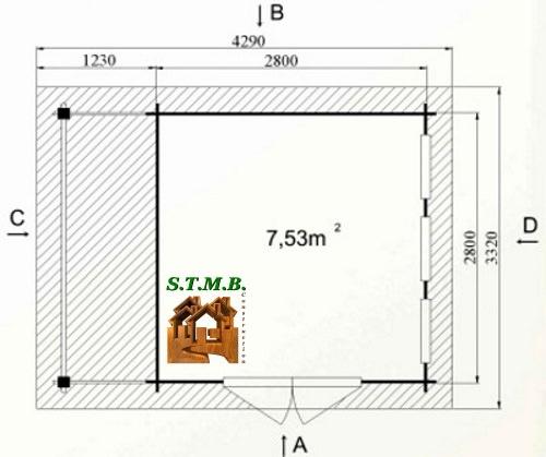 Photo plan abri jardin toit plat acacia 12 stmb 1