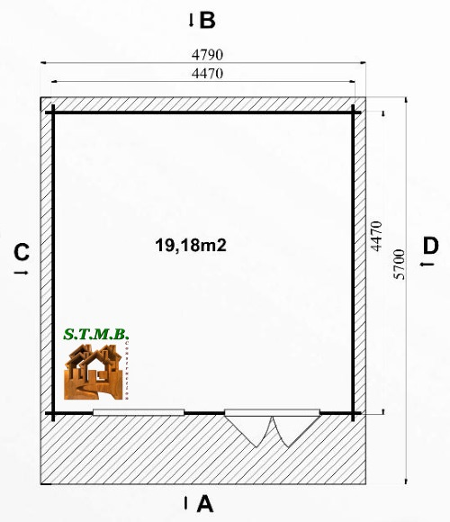 Photo plan chalet bois habitable tremble 22m2 stmb