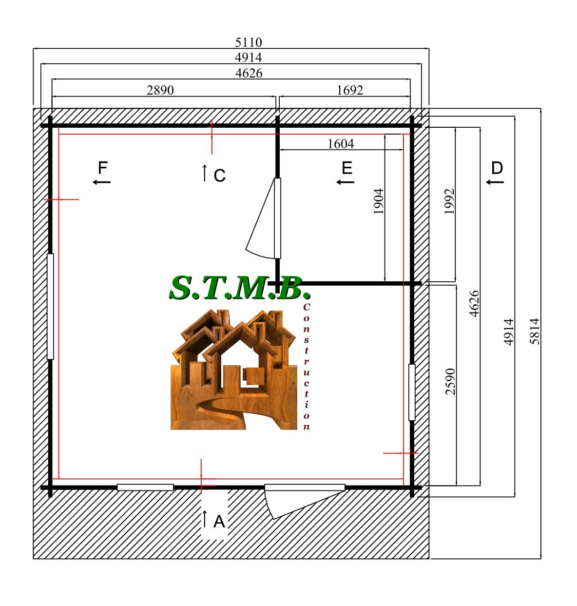 Photo plan chalet en bois noisy 24 m2 stmb construction