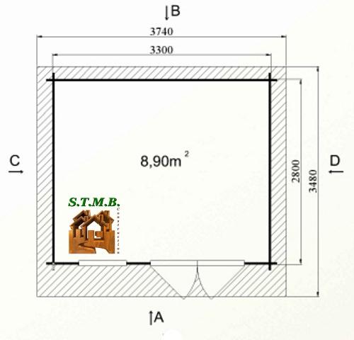Photo plan kit abri bois de jardin cedre 10 50m stmb