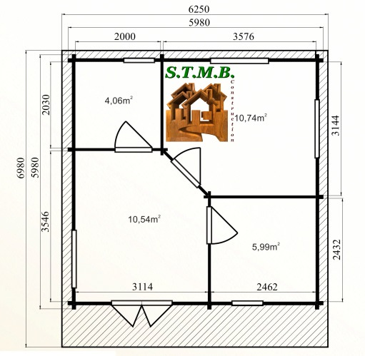 Photo plan kit chalet bois habitable chataignier stmb construction