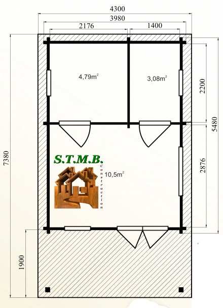 Photo plan kit chalet bois habitable frene 30 stmb construction