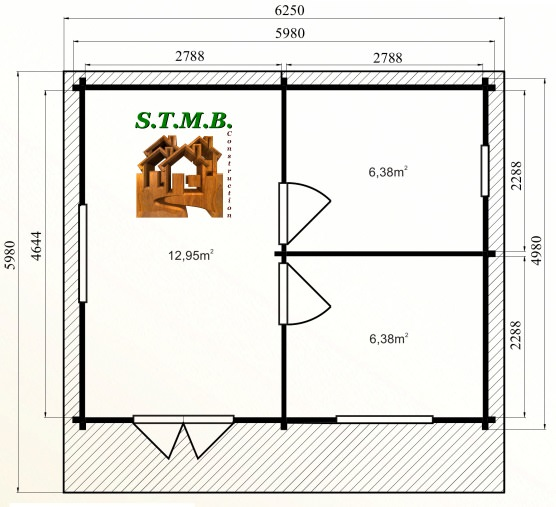 Photo plan kit chalet bois habitable genevrier 30 stmb construction