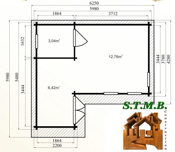 Photo plan kit chalet bois habitable merisier 33 stmb construction