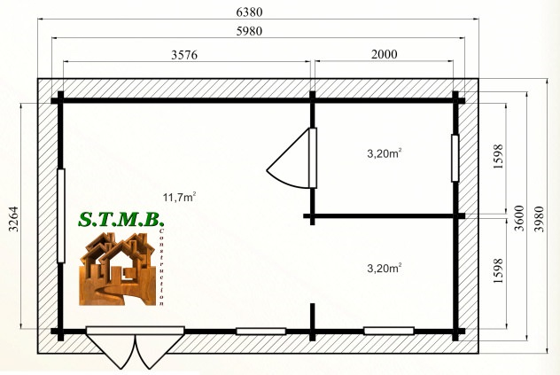 Photo plan kit chalet habitable hetre 22 stmb construction