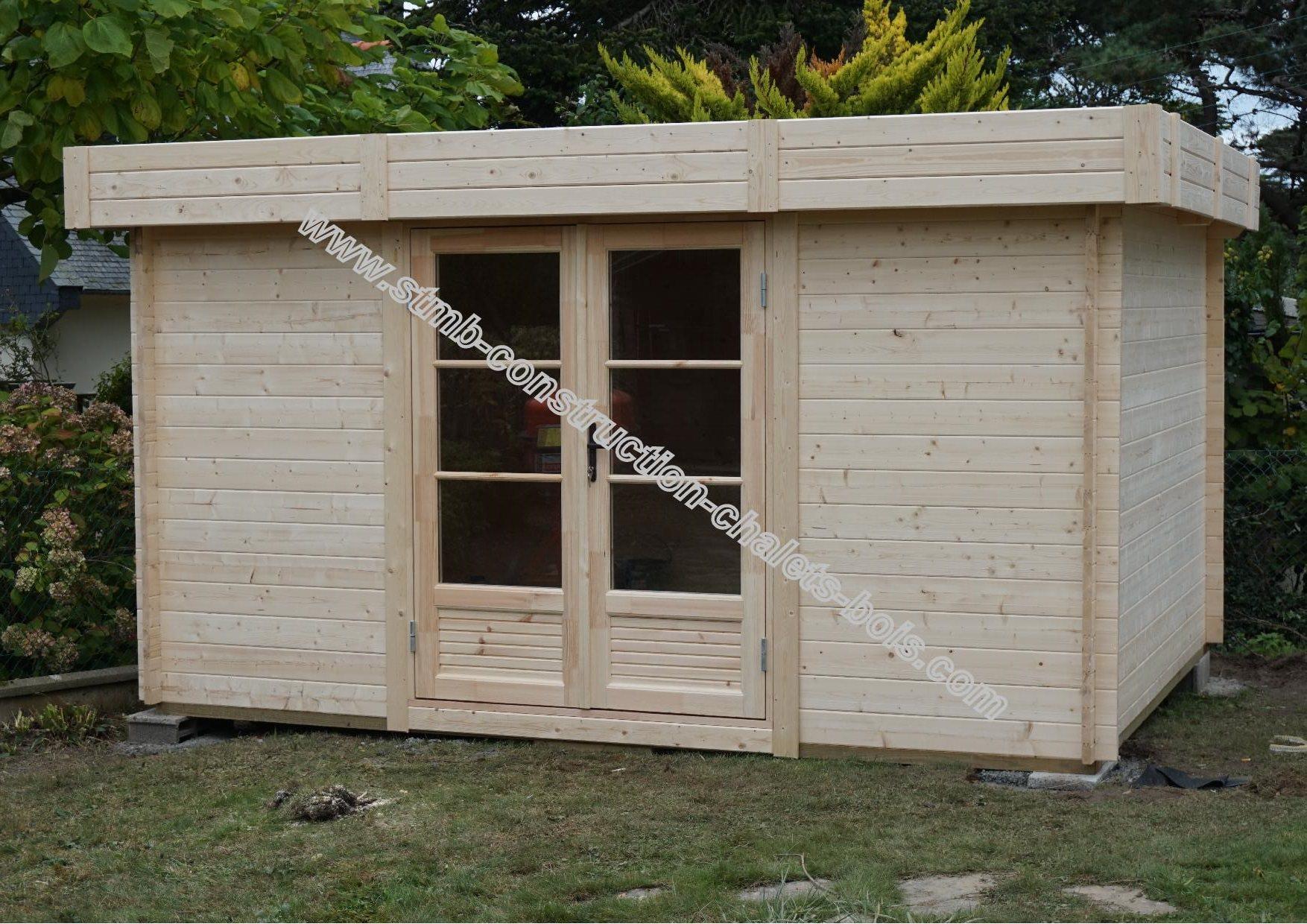 Chalet en bois toit plat antibes 25 m2 sur mesure en 45 mm for Petit chalet de jardin en bois