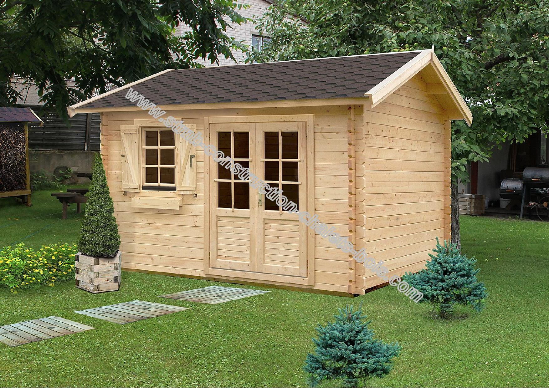 Kit chalet de jardin palmier m2 int rieur for Chalet prix construction