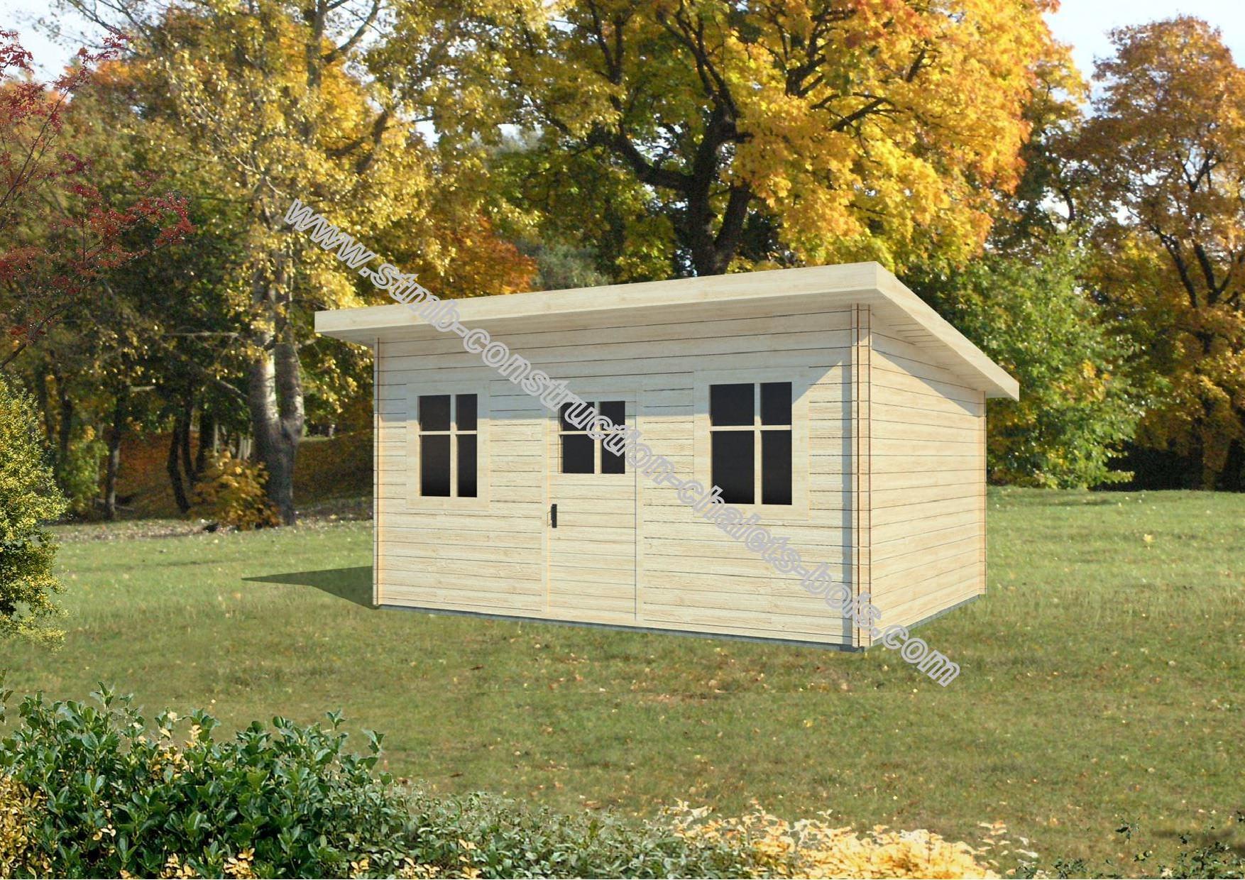 Bureau ou chalet de jardin caen 12 en madriers de 68 mm for Cabanon en bois toit plat