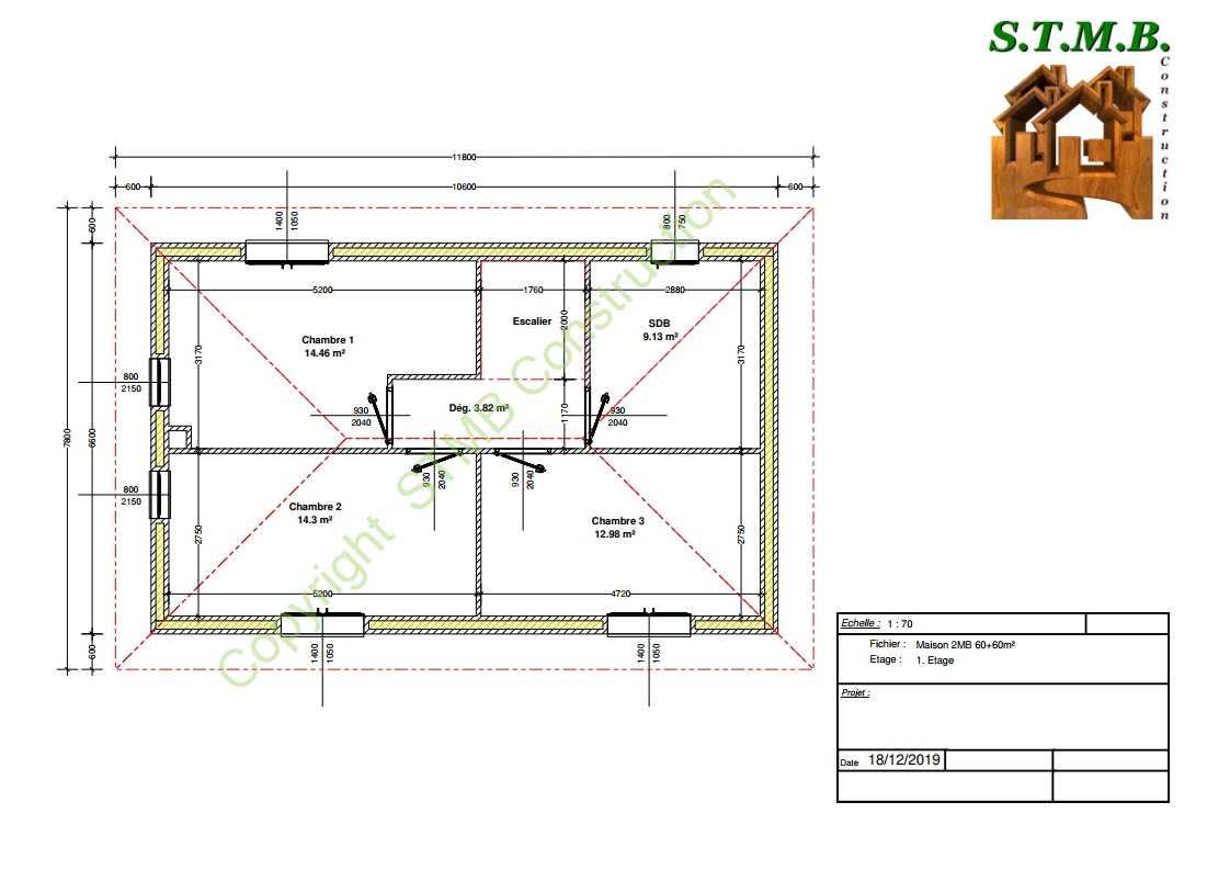 Plan etage maison bois 120m2 stmb construction