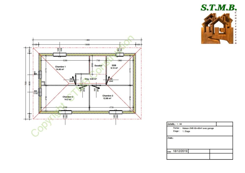 Plan etage maison bois etage garage 120m2 stmb construction