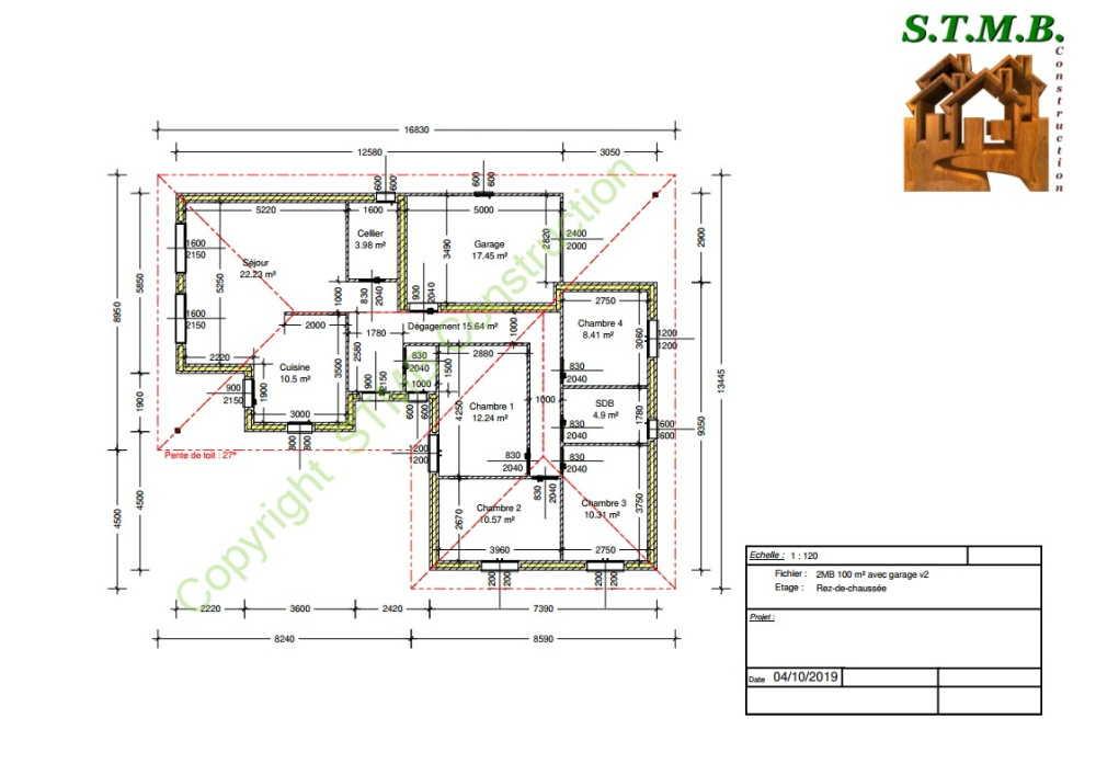 Plan maison bois 100m2 stmb construction 1