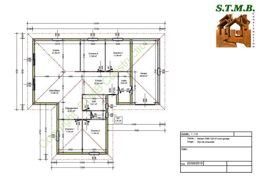 Plan maison bois 120m2 stmb construction