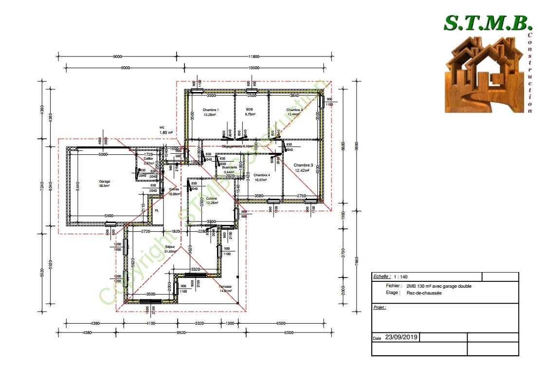 Plan maison bois 130m2 stmb construction