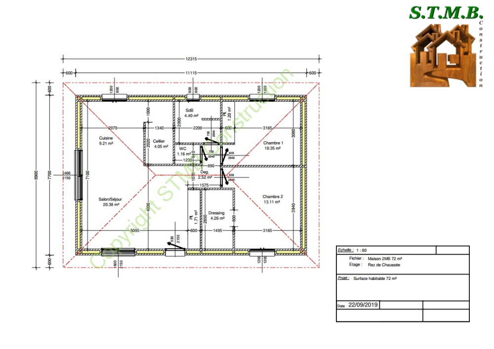 Plan maison bois 72m2 stmb construction 1