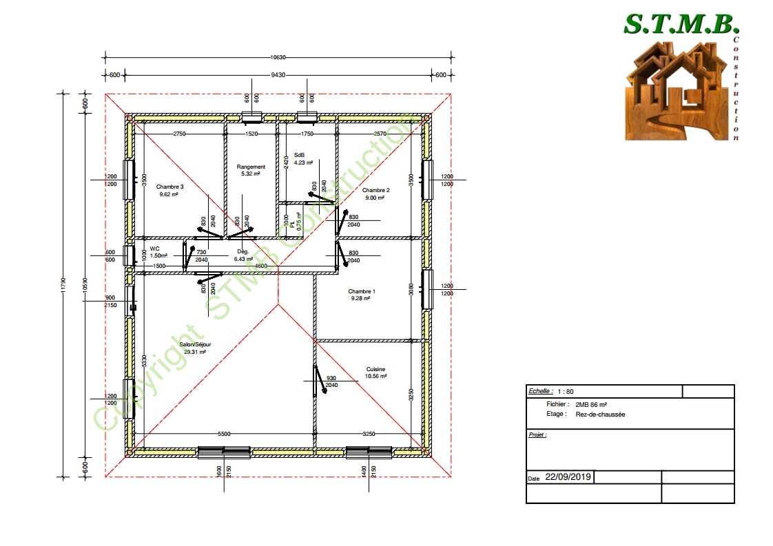 Plan maison bois 86m2 stmb construction 1