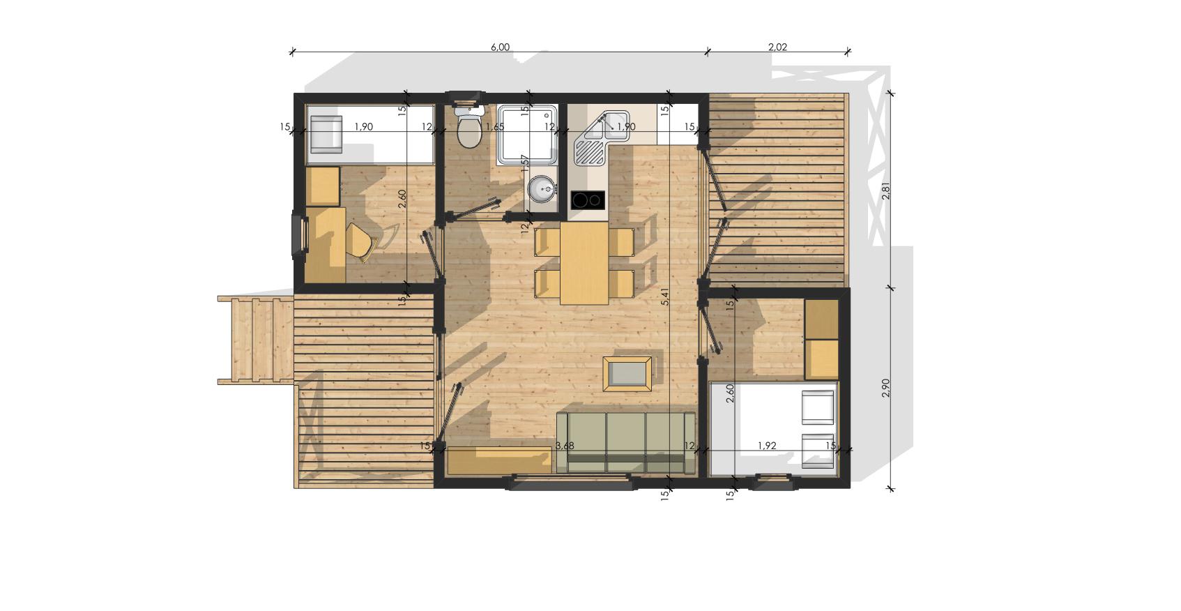 Plan modulaire bois habitat 35 stmb