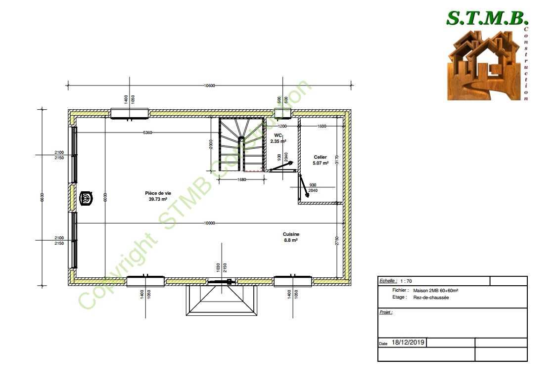 Plan rdc maison bois 120m2 stmb construction