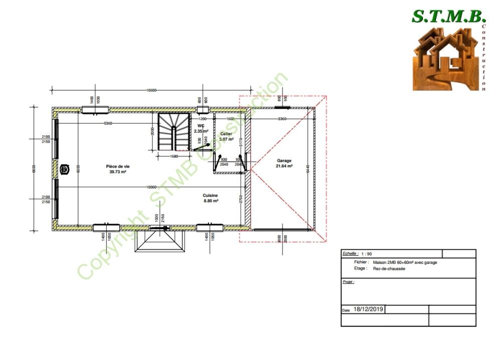 Plan rdc maison bois etage garage 120m2 stmb construction