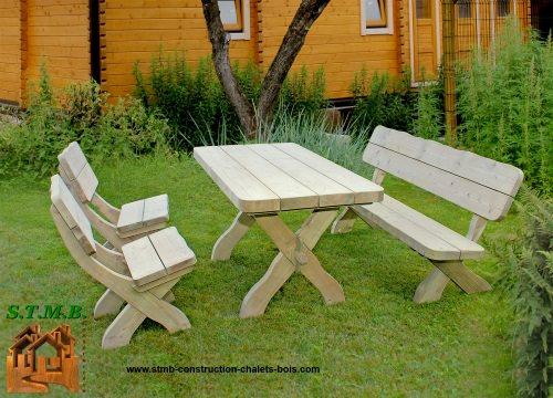 Salons de jardin en bois, salon extérieur en bois : ensemble ...